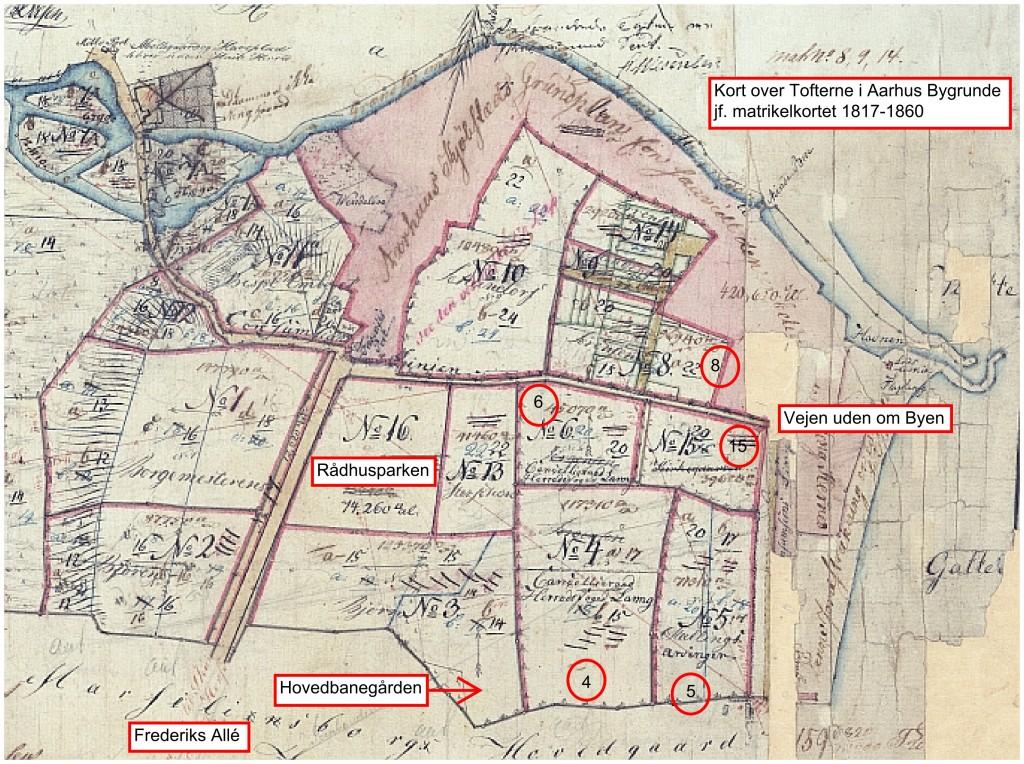 Grundstykkerne i Aarhus Købstad mellem åen og sognegrænsen til Viby i perioden 1816-1860.