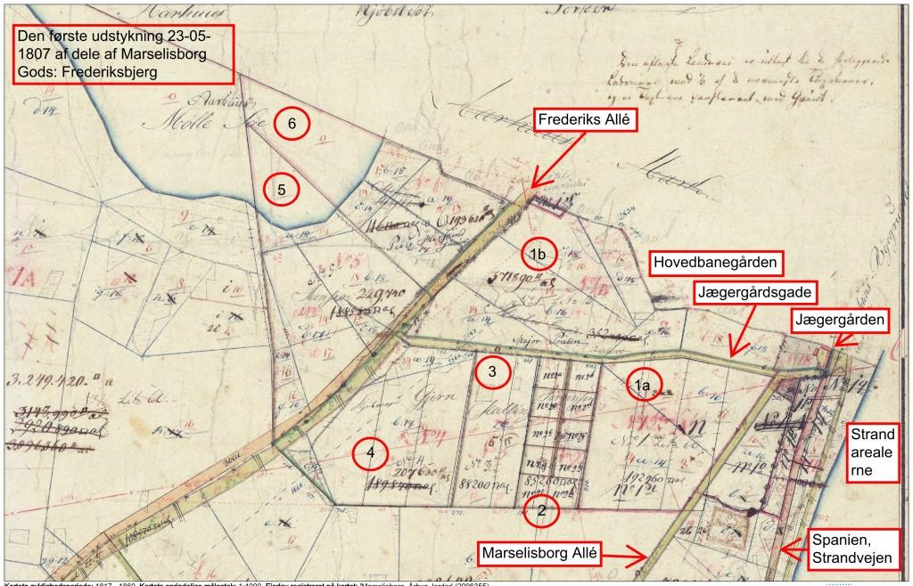 Grundstykkerne i Viby Sogn mellem sognegrænsen til Aarhus Købstad og Aarhus Å i perioden 1817-1860.