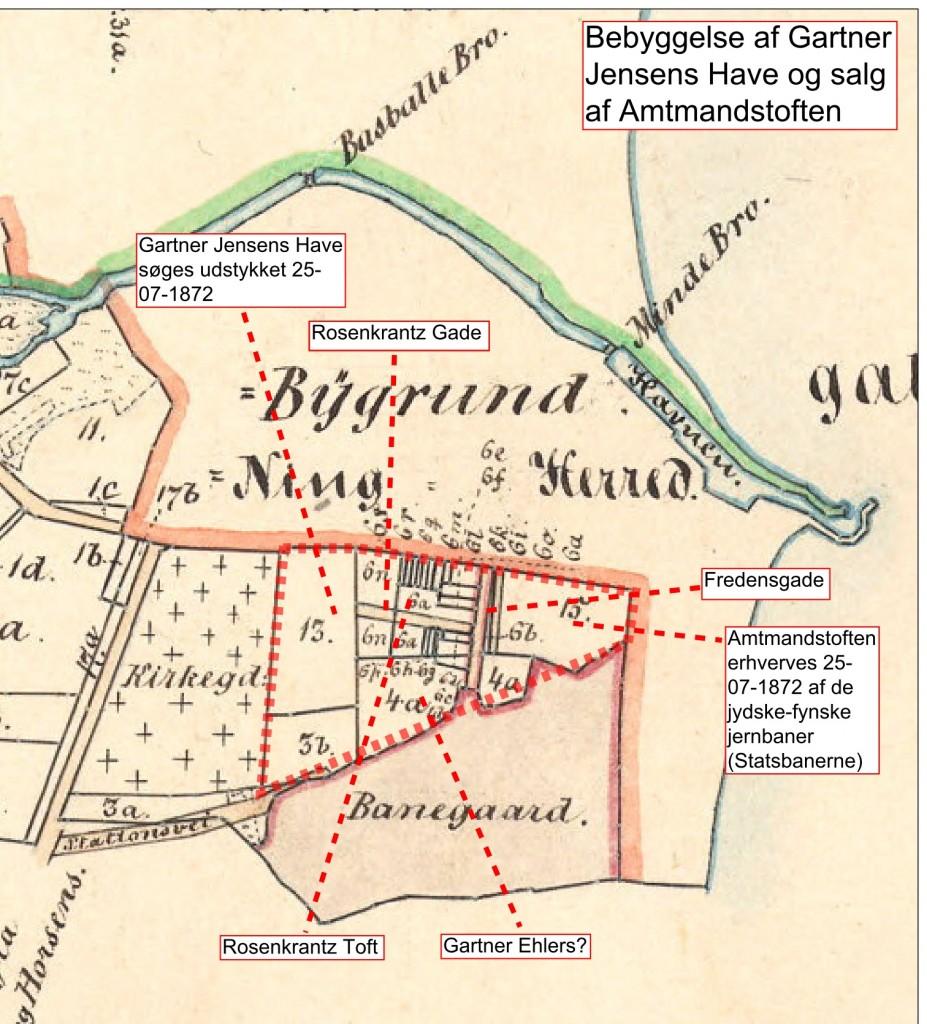 Udstykningen af Jensens Have. Matrikelkort 1862-1872. Geodatastyrelsen.