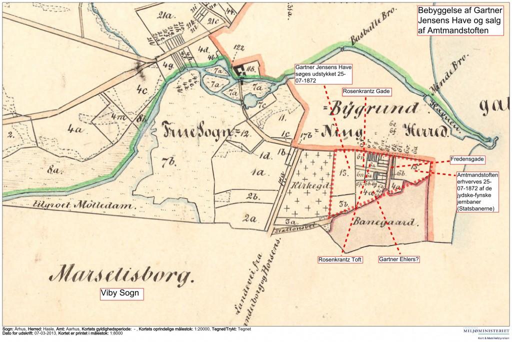 Aarhus Købstad mellem sognegrænsen til Viby og Aarhus Å. 1862-1872. Geodatastyrelsen.