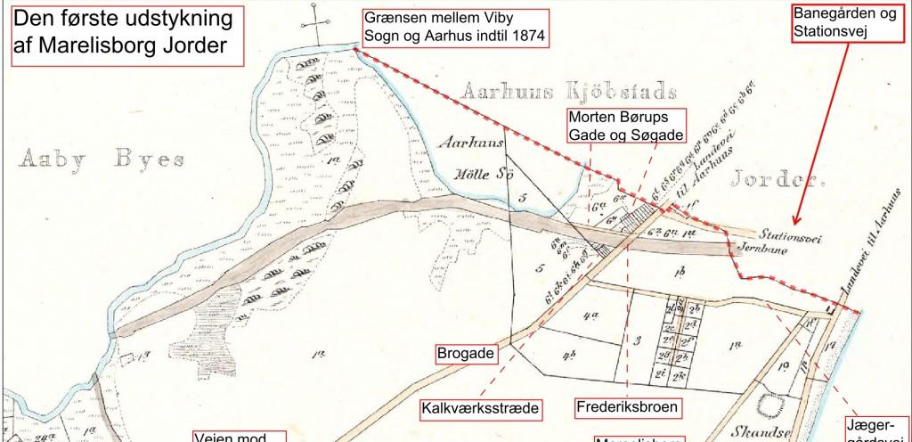 Kort over Viby Sogn, Marselisborg, sidst ajourført 2. februar 1870
