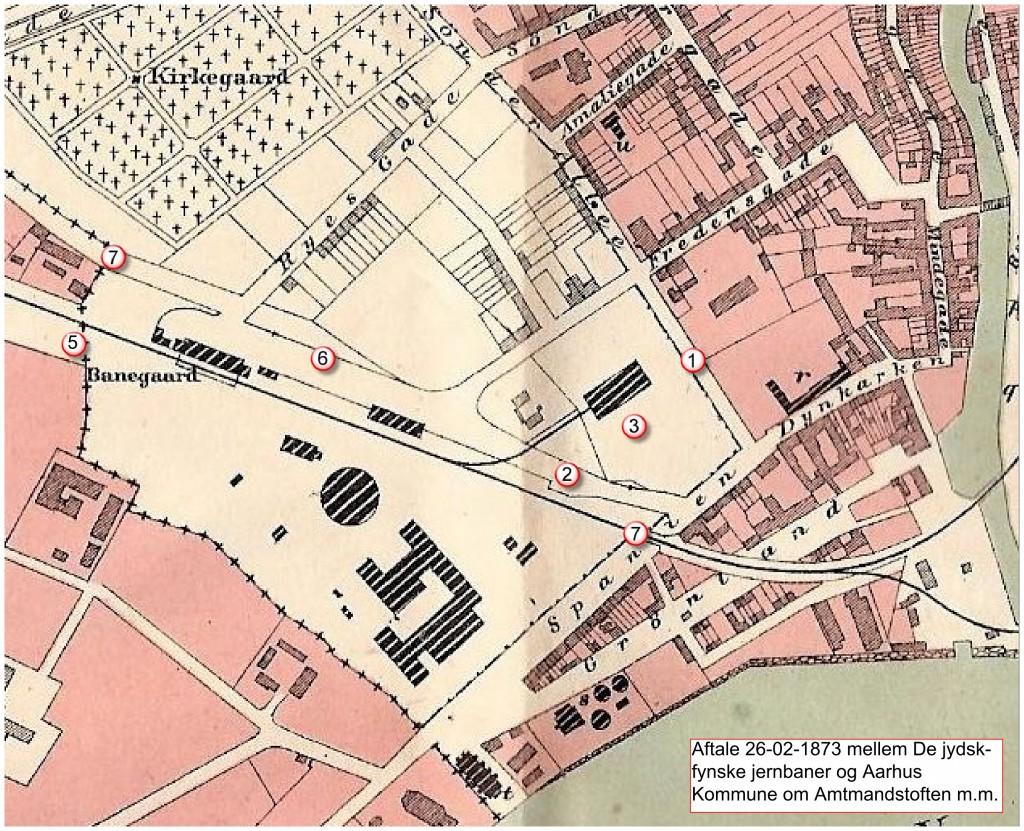 Området berørt af aftalen mellem Aarhus Købstad og De jydsk-fynske Jernbaner.