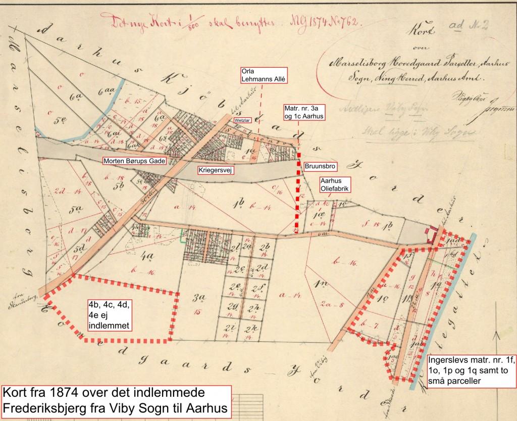 Kort over de indlemmede dele af Viby Sogn, Marselisborg pr. 1. januar 1874