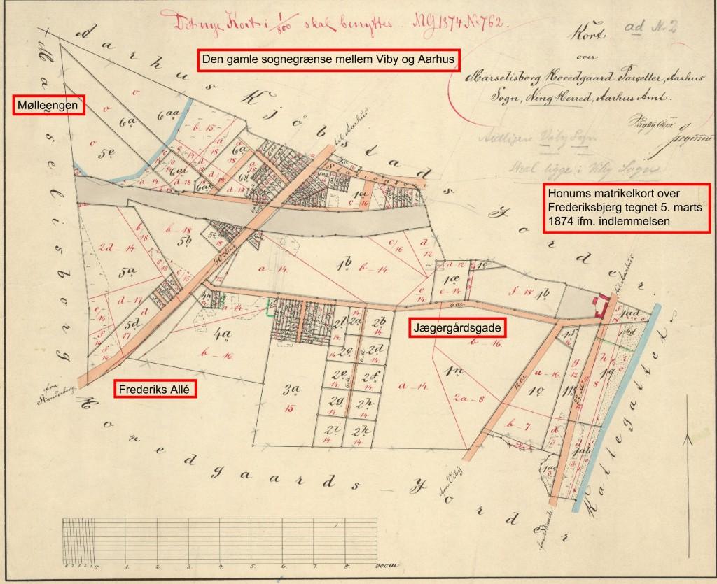 Kort over den del af Marselisborg Hovedgård Parceller, som blev indlemmet i Aarhus pr. 1. januar 1874. Tegnet af Honum 5. marts 1874. Original: Geodatastyrelsen.