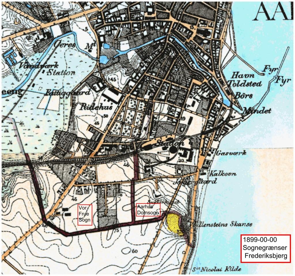 Sognegrænser mellem Vor Frue Sogn og Aarhus Domkirkesogn i slutningen af 1800-tallet.